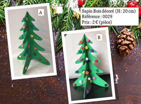 Sapin Bois décoré (H: 20cm)