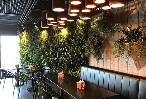 restaurant design mur végétal