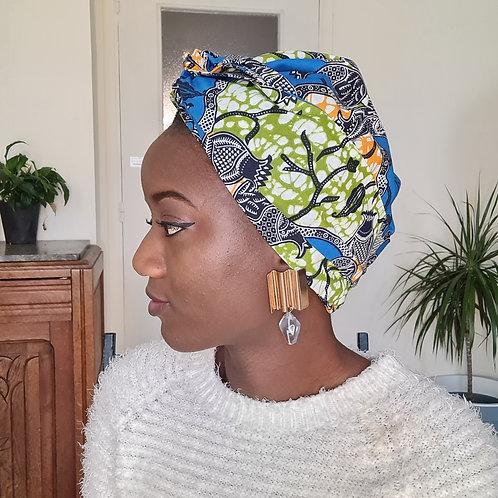 Bonnet turban satin et wax