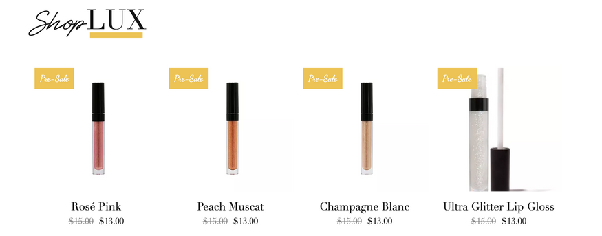 Super Lux Cosmetics Shop Page
