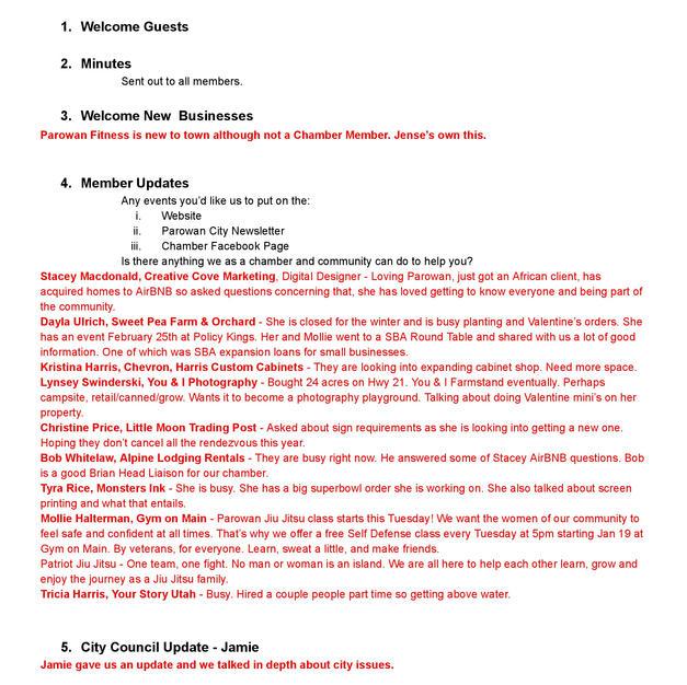 2021-02-03 Parowan Chamber Minutes (1of2