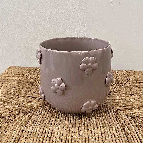 """Lavender Flower Pattern Pot 6""""W x 5""""H"""