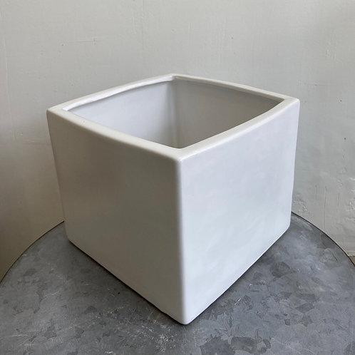 """White Cube Pot 8""""W x 6""""H"""