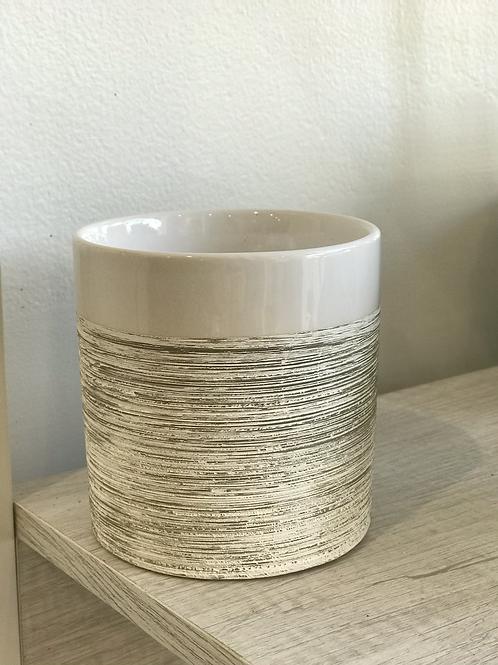 "Pinstripe White Pot 4.25"""