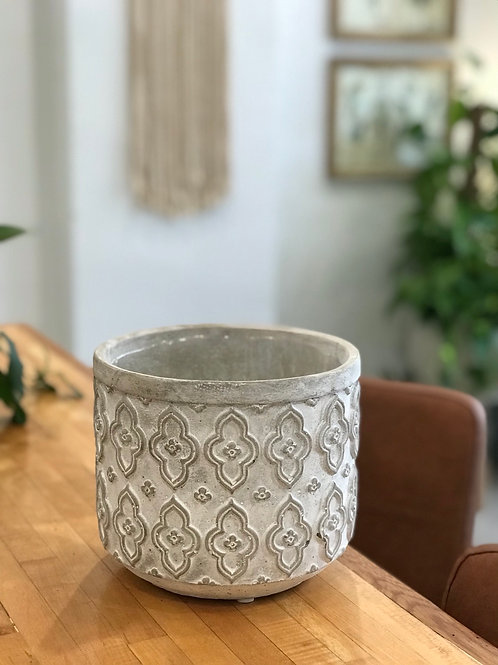 """Concrete Moroccan Pattern Pot 6.5""""x7.5"""""""