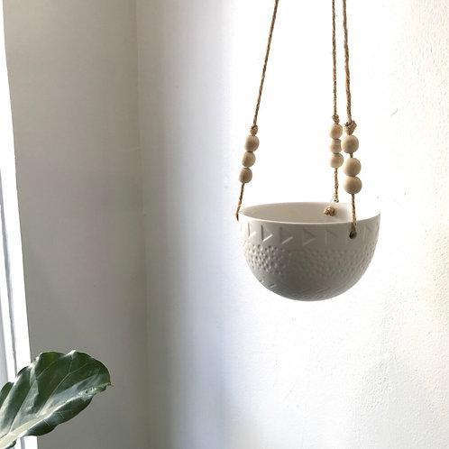 White Pattern Beaded Hanging Planter