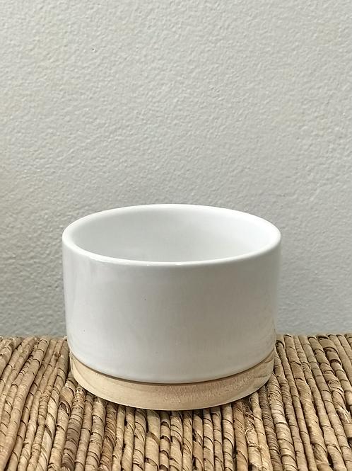 "White Pot with Wood Base 3.75"""
