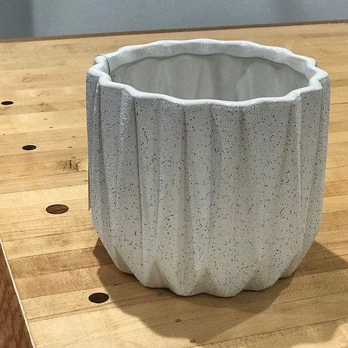 """White Organic Pot 6""""W x 5""""H"""