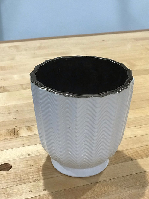 White Chevron Pot 5.25""