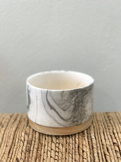 Marble Pot with Wood Base 3.75""