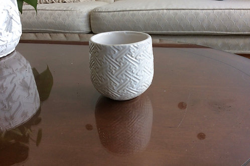 """White T-Pattern Pot 3.25"""""""