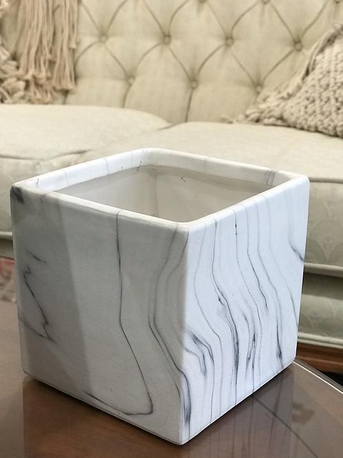 "White Marble Cube Pot 5"""