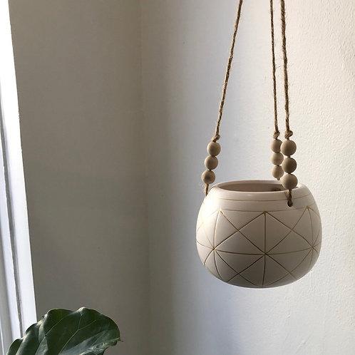White Gold Pattern Beaded Hanging Planter
