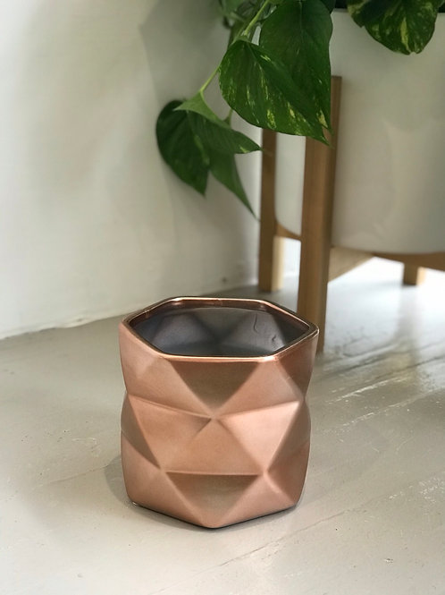 "Rose Gold Geometric Pot 5.5""x6.25"""