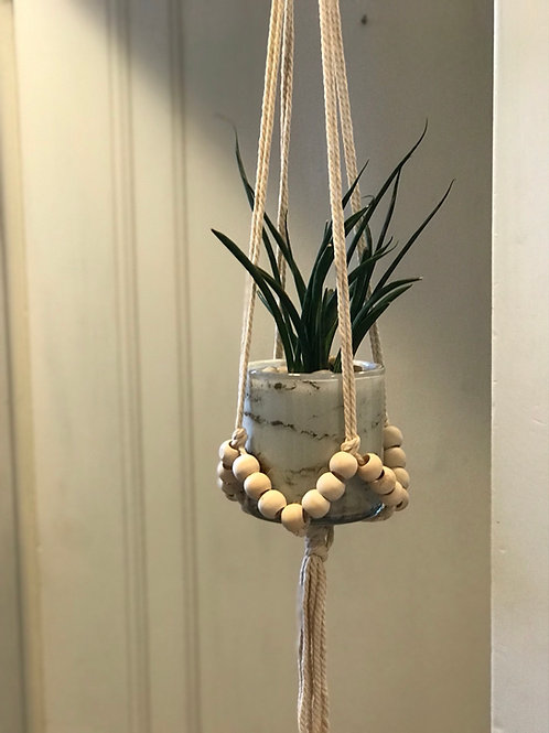 """Macrame Beaded Plant Hanger 36""""L (plant and pot sold separately)"""