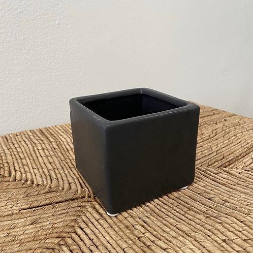 "Black Cube Pot 3"""