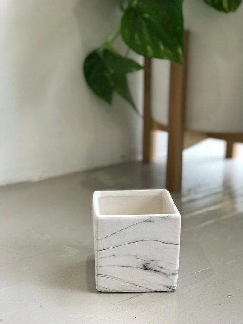 "White Marble Cube Pot 4"""