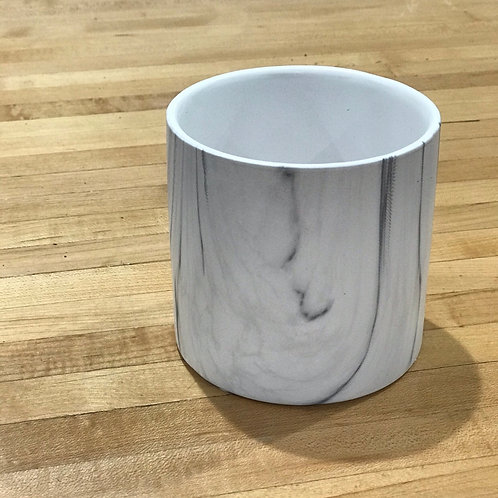 White Marble Cylinder Pot 4""