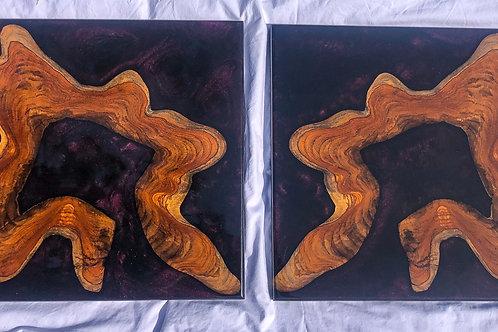 Teak art pair