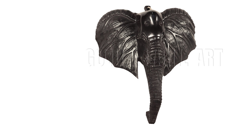 61cm high Ebony elephant face mask