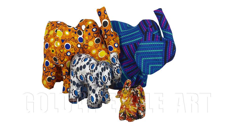 Medim fabric elephant family of 4