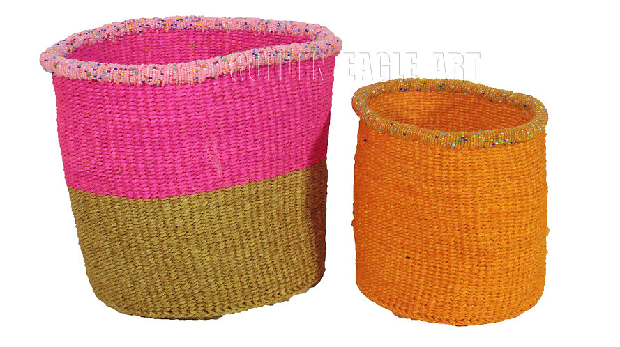 A set of 2 paper bin beaded baskets