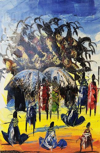 Cultural Samburu village oil painting on canvas