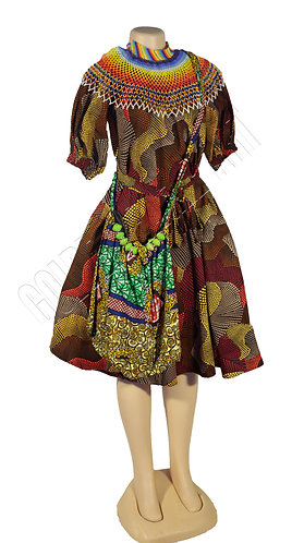 Beaded maasai color necklace,African kitenge dresss and Kitenge bag