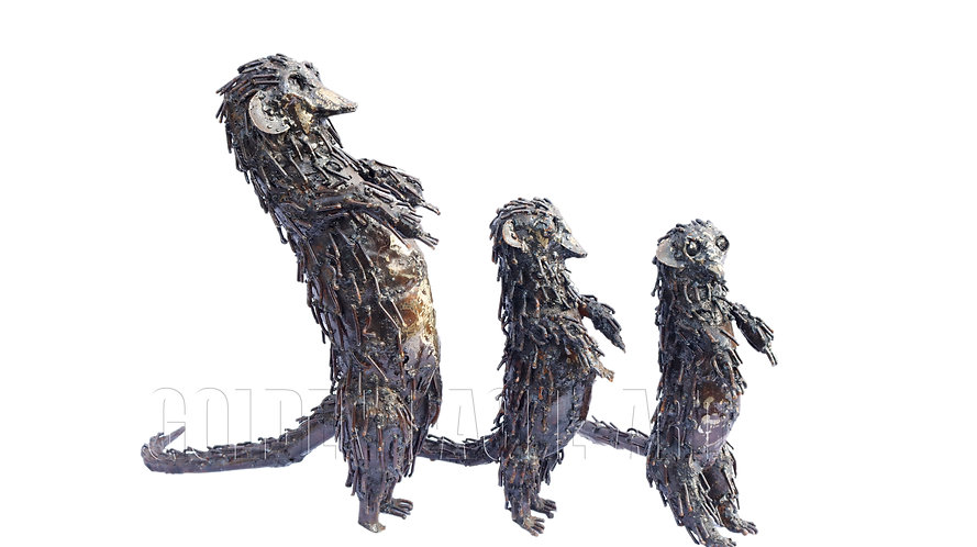 Recycled metal meerkats