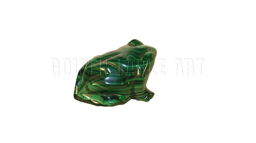 Carved malachite stone frog