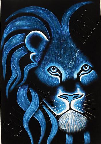 Lion head colored oil painting on velvet