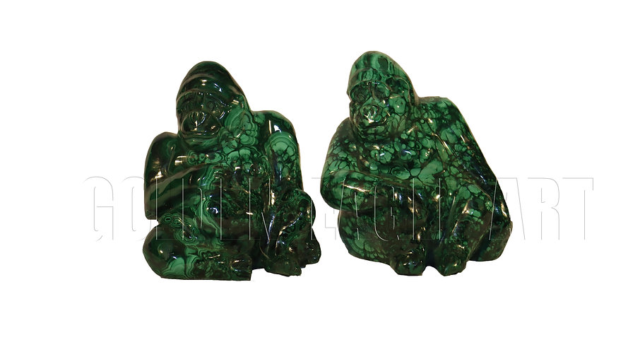 Malachite stone carved baboons