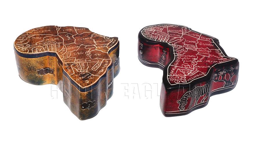 African map soapstone magic jewel box