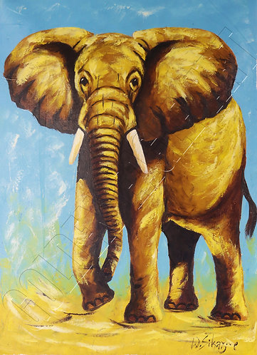 Colored elephant oil painting on canvas