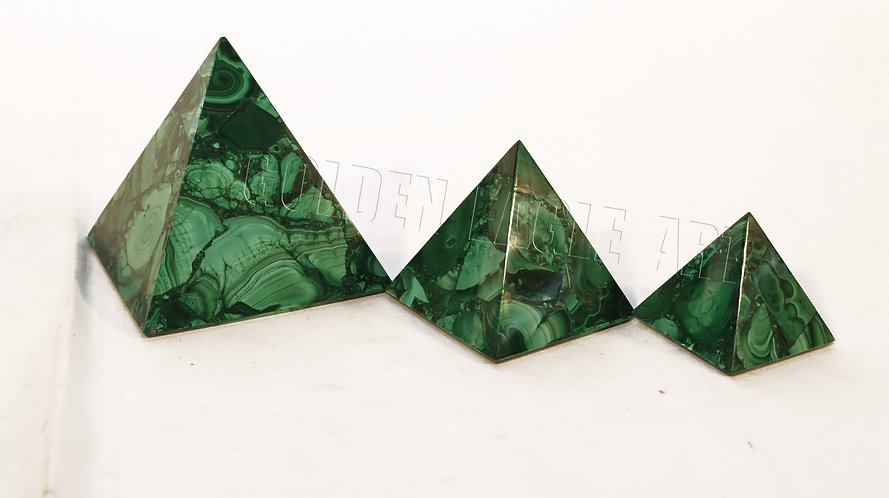 malachite stone pyramid