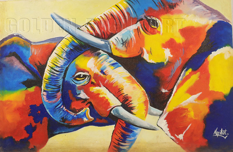 Colored kissing elephant painting on canvas