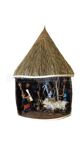 African hut banana nativity set