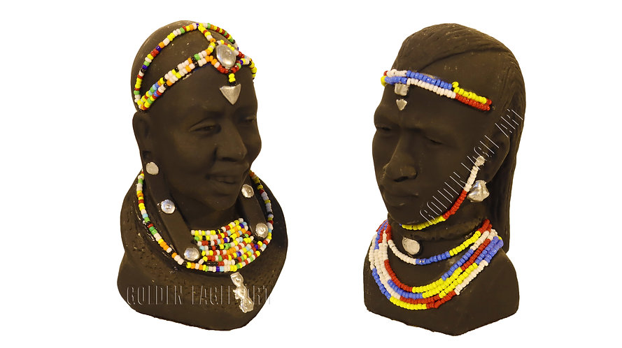 Beaded pair of clay bust