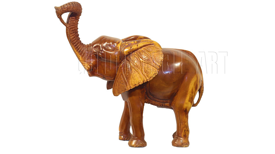 61cm tall rosewood elephant