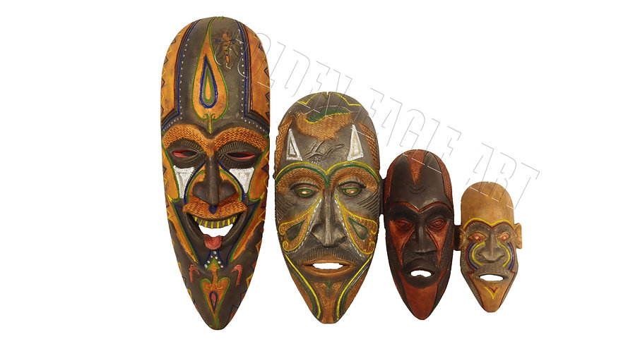 Set on newly made old traditional masks