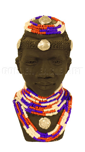 Single beaded clay bust