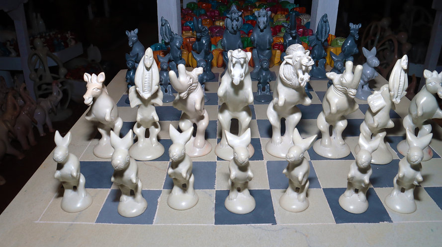 Jumping animals soapstone chess set