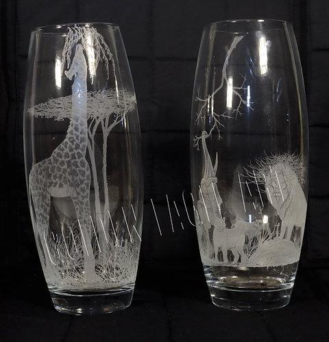 Engraved glass flower verses