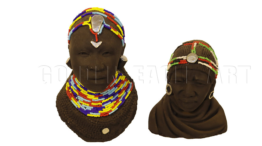 Beaded pair of clay busts