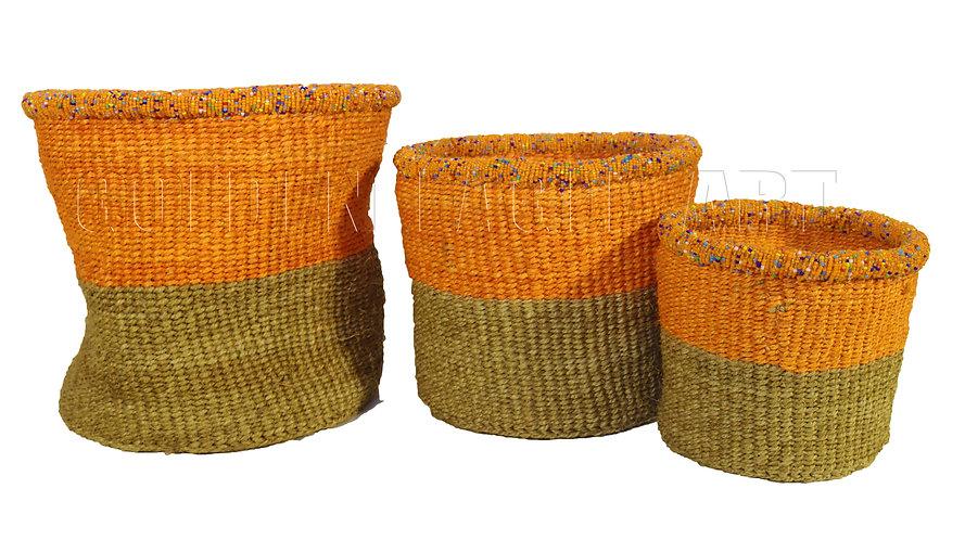 A set of 3 paper bin beaded baskets