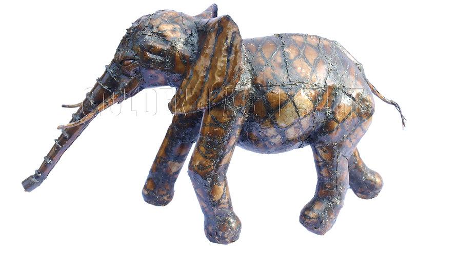 Recycled metal garden elephant
