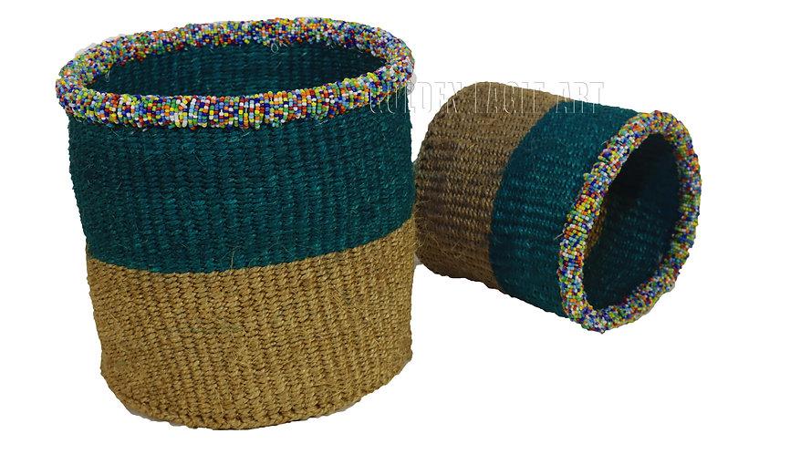 Beaded set of 2 paper bin beaded baskets