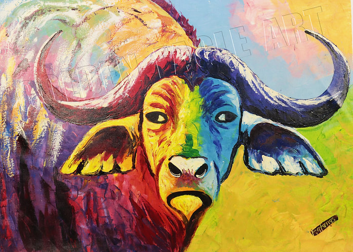 Buffalo face oil painting on canvas
