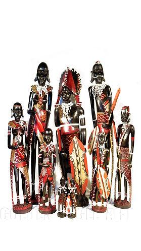 Colored maasai family set