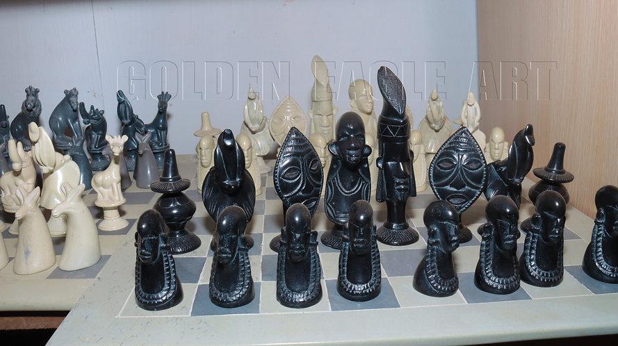 Special 18 inch natural soapstone maasai chess set